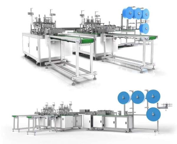 One in two out flat face mask production line
